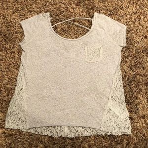 Abercrombie & Fitch - gray lace back shirt. L
